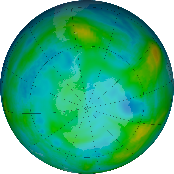 Antarctic ozone map for 05 June 1991