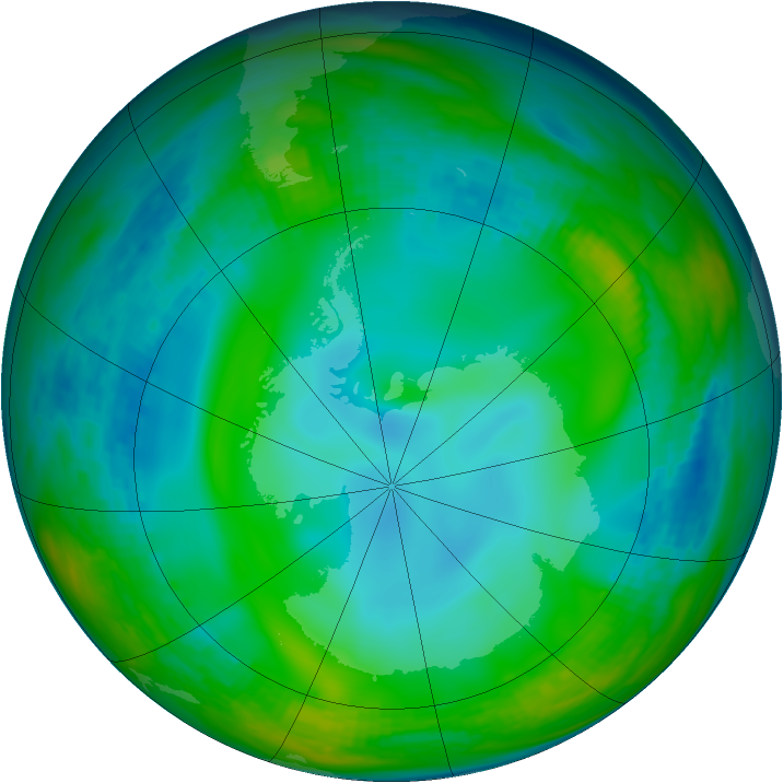 Antarctic ozone map for 21 June 1991