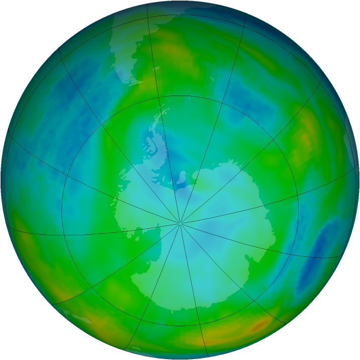 Antarctic ozone map for 22 June 1991