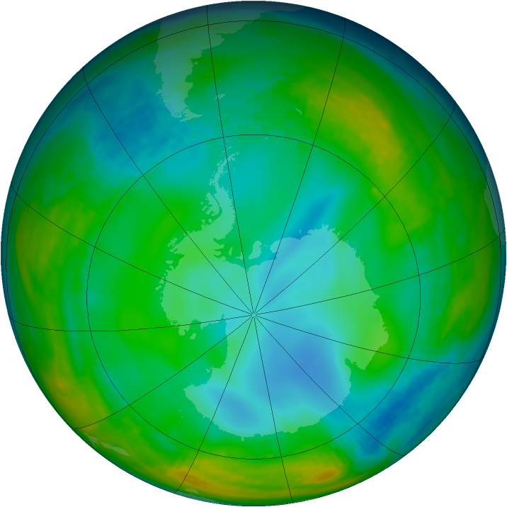 Antarctic ozone map for 26 June 1991