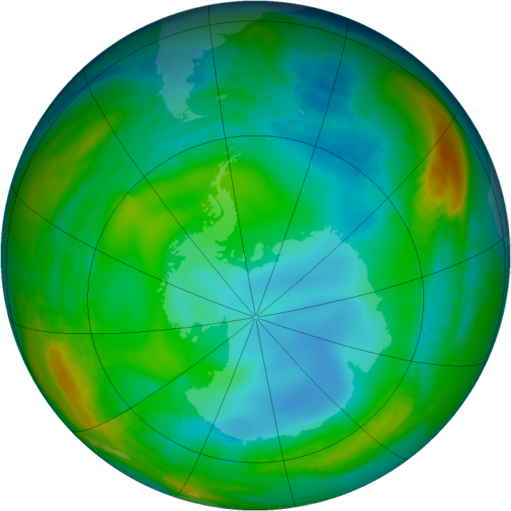 Antarctic ozone map for 29 June 1991
