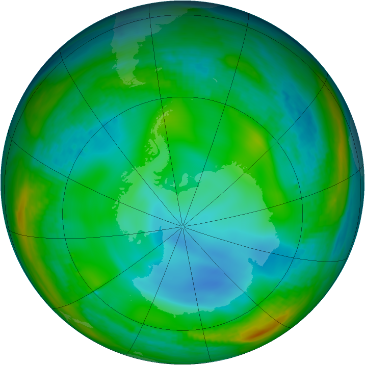 Antarctic ozone map for 01 July 1991