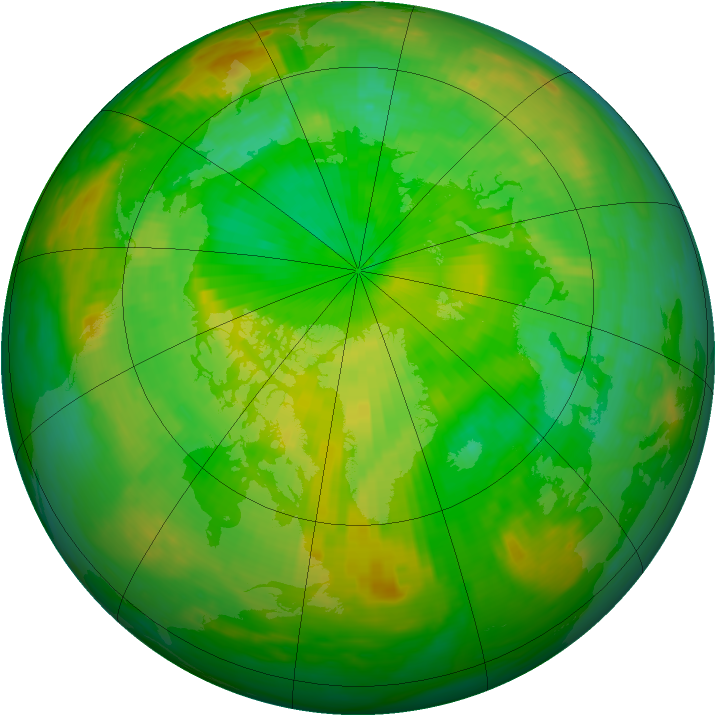 Arctic ozone map for 04 July 1991