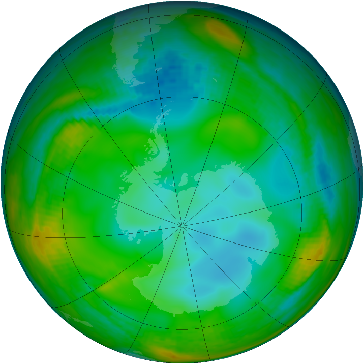 Antarctic ozone map for 04 July 1991