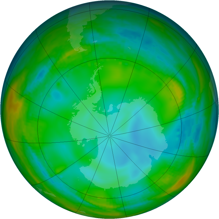 Antarctic ozone map for 06 July 1991