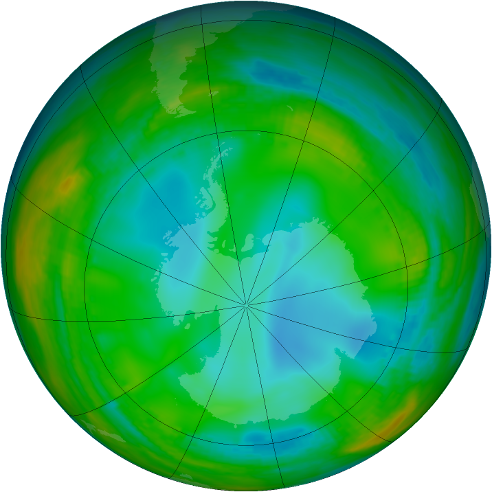 Antarctic ozone map for 07 July 1991