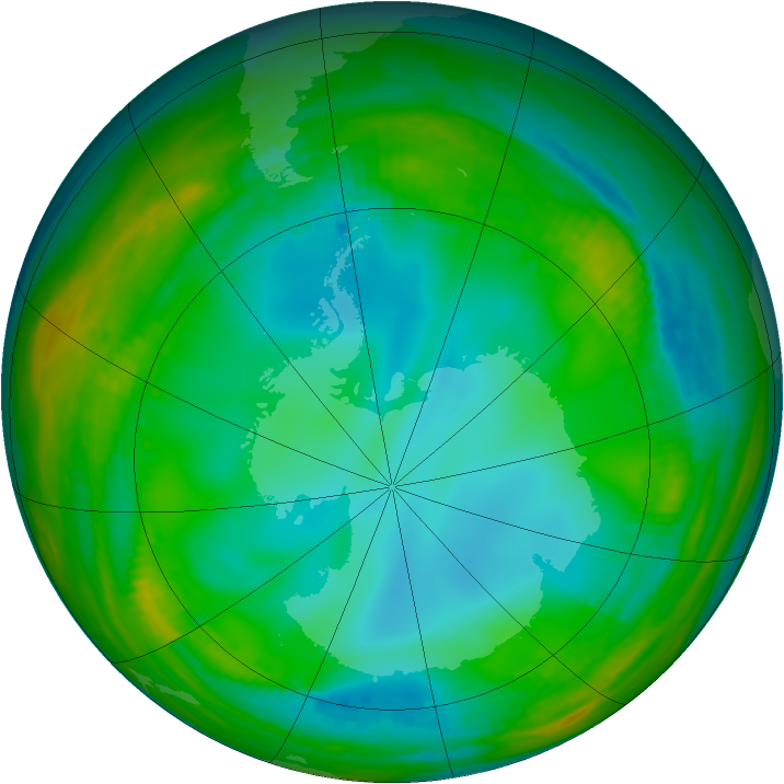 Antarctic ozone map for 08 July 1991