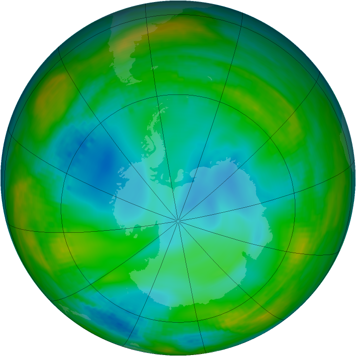 Antarctic ozone map for 11 July 1991