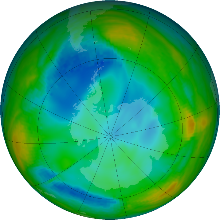 Antarctic ozone map for 13 July 1991
