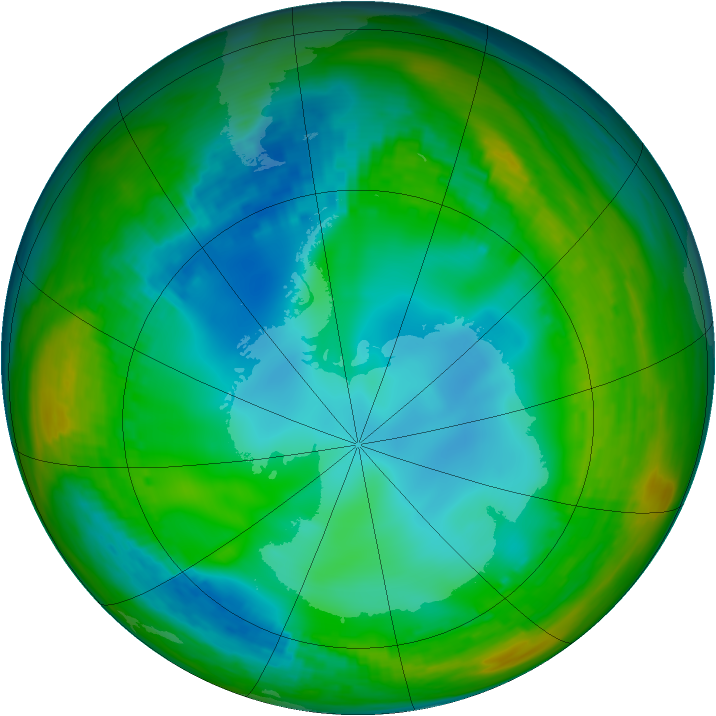 Antarctic ozone map for 14 July 1991