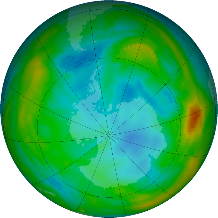 Antarctic ozone map for 15 July 1991