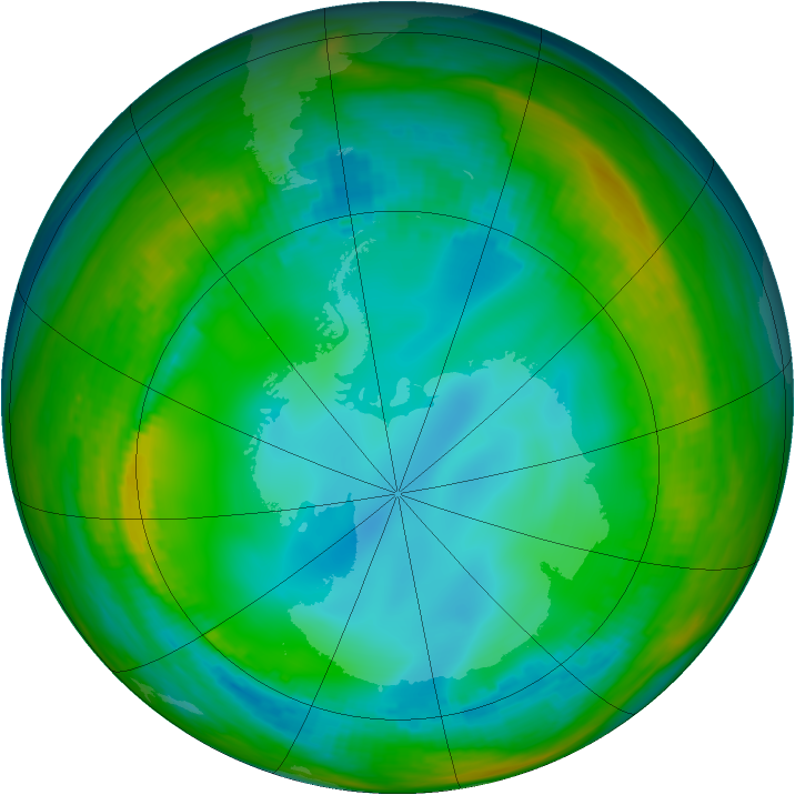 Antarctic ozone map for 18 July 1991