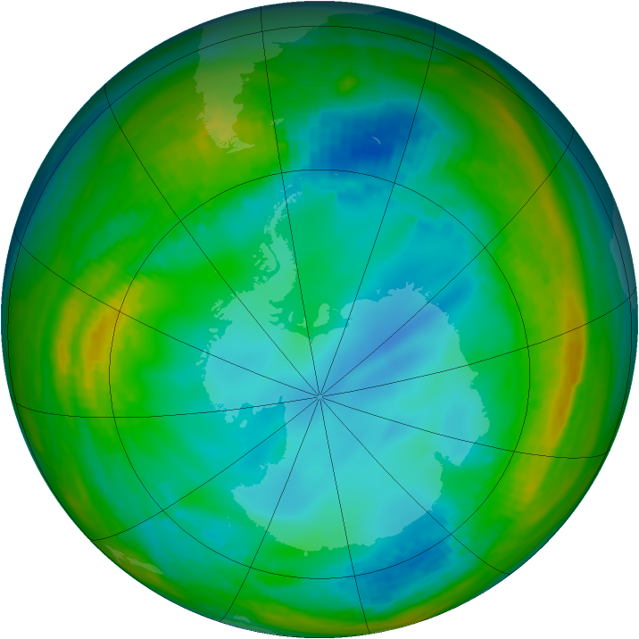 Antarctic ozone map for 19 July 1991