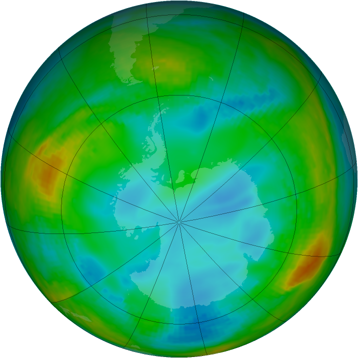 Antarctic ozone map for 20 July 1991