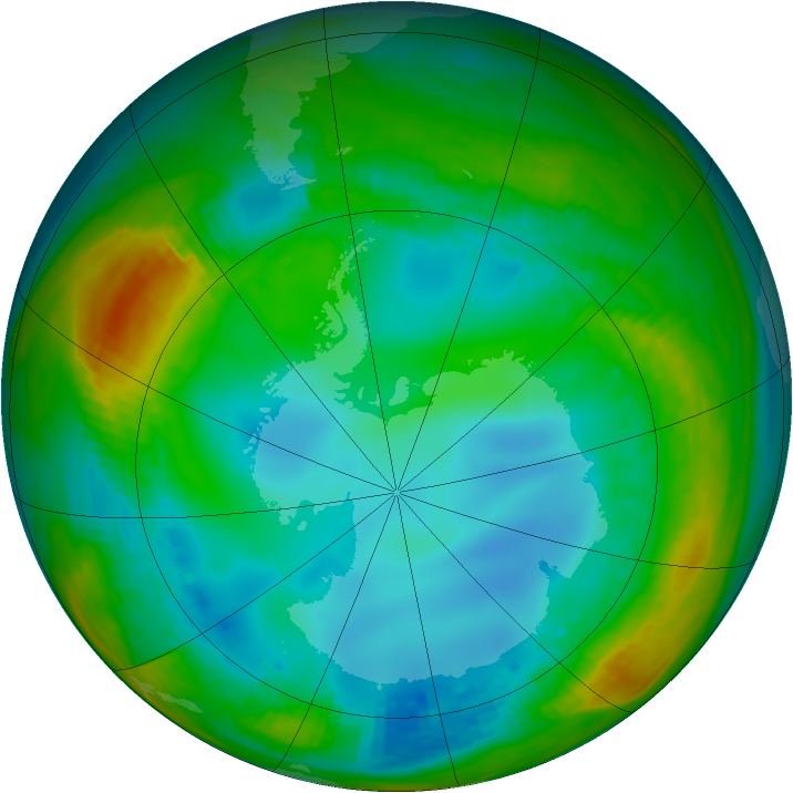 Antarctic ozone map for 21 July 1991