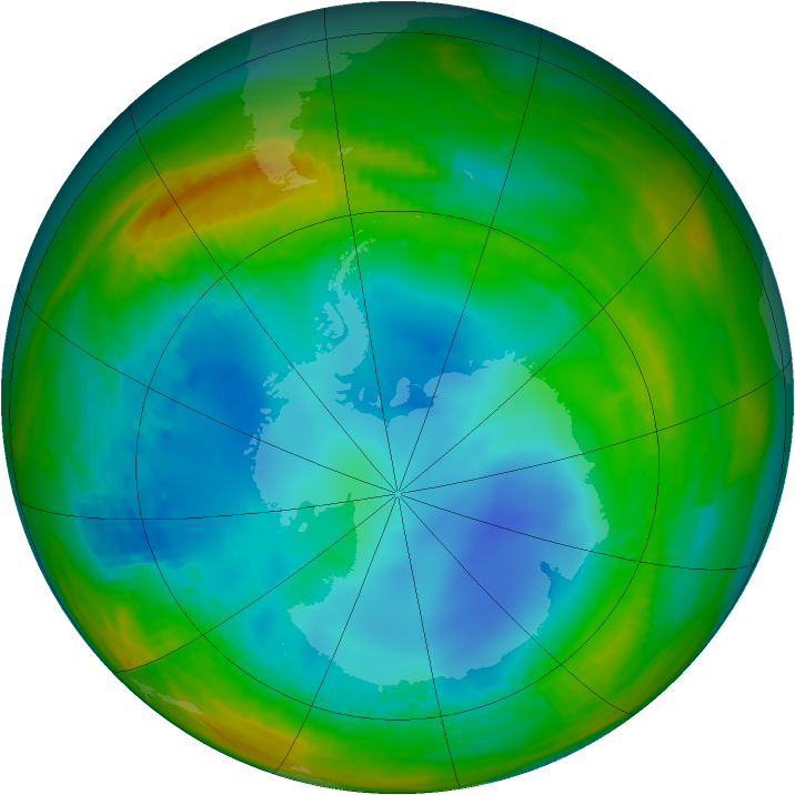Antarctic ozone map for 24 July 1991