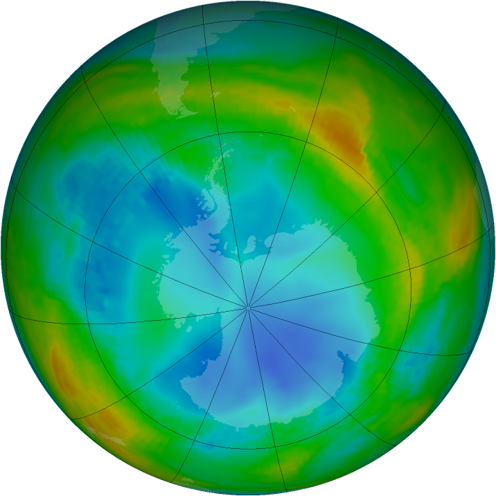 Antarctic ozone map for 26 July 1991