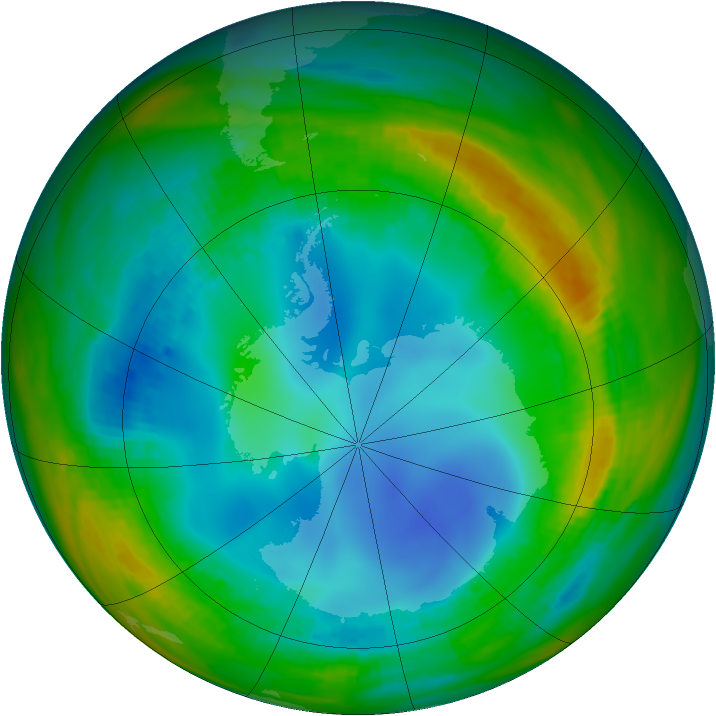 Antarctic ozone map for 27 July 1991