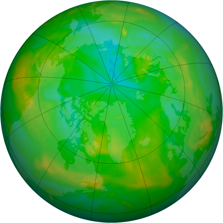 Arctic ozone map for 28 July 1991