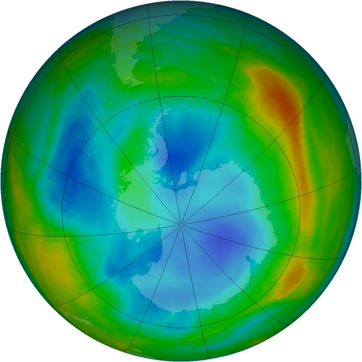 Antarctic ozone map for 28 July 1991