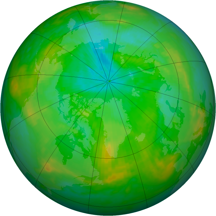 Arctic ozone map for 29 July 1991