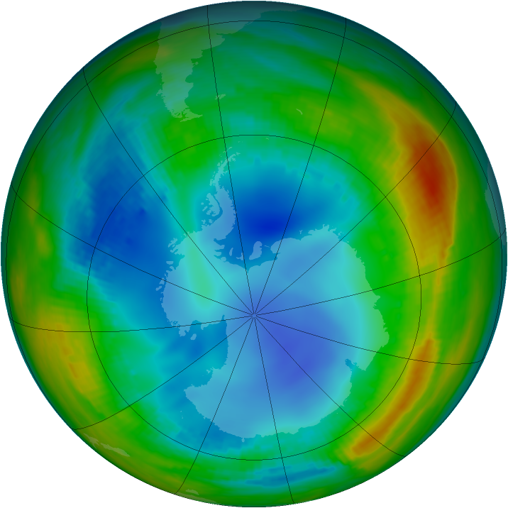 Antarctic ozone map for 29 July 1991