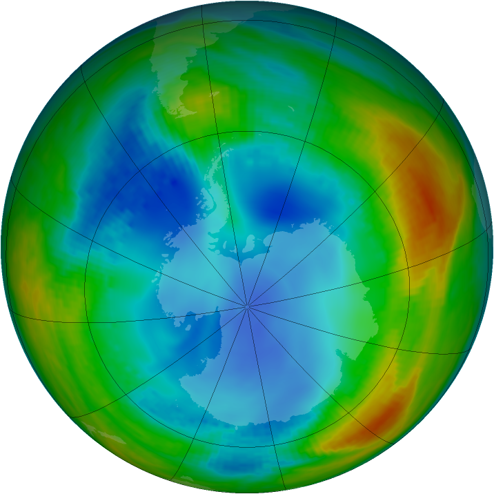 Antarctic ozone map for 30 July 1991