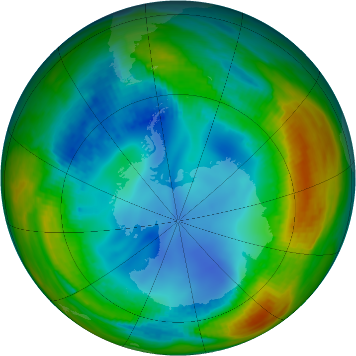 Antarctic ozone map for 31 July 1991