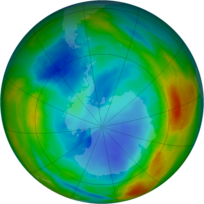 Antarctic ozone map for 01 August 1991