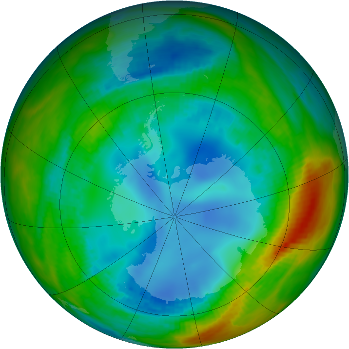 Antarctic ozone map for 03 August 1991