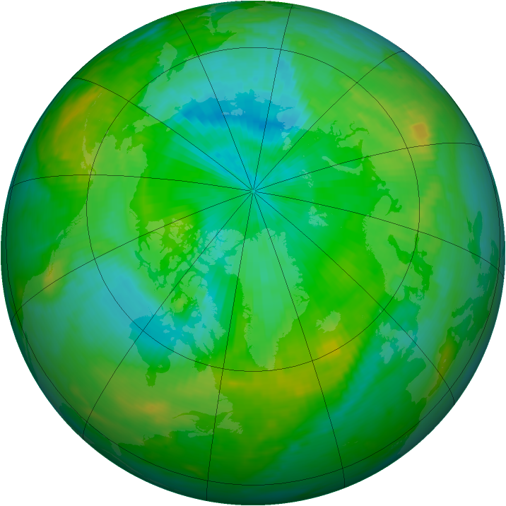 Arctic ozone map for 10 August 1991