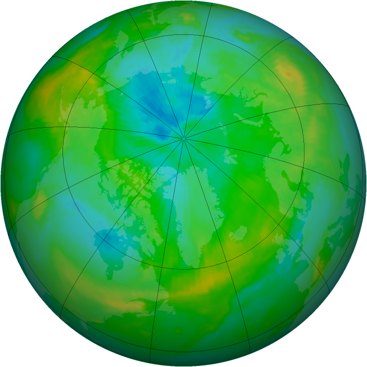 Arctic ozone map for 11 August 1991