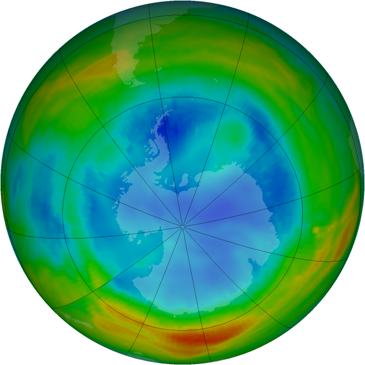 Antarctic ozone map for 12 August 1991