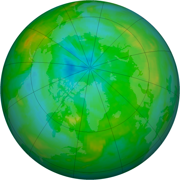 Arctic ozone map for 13 August 1991