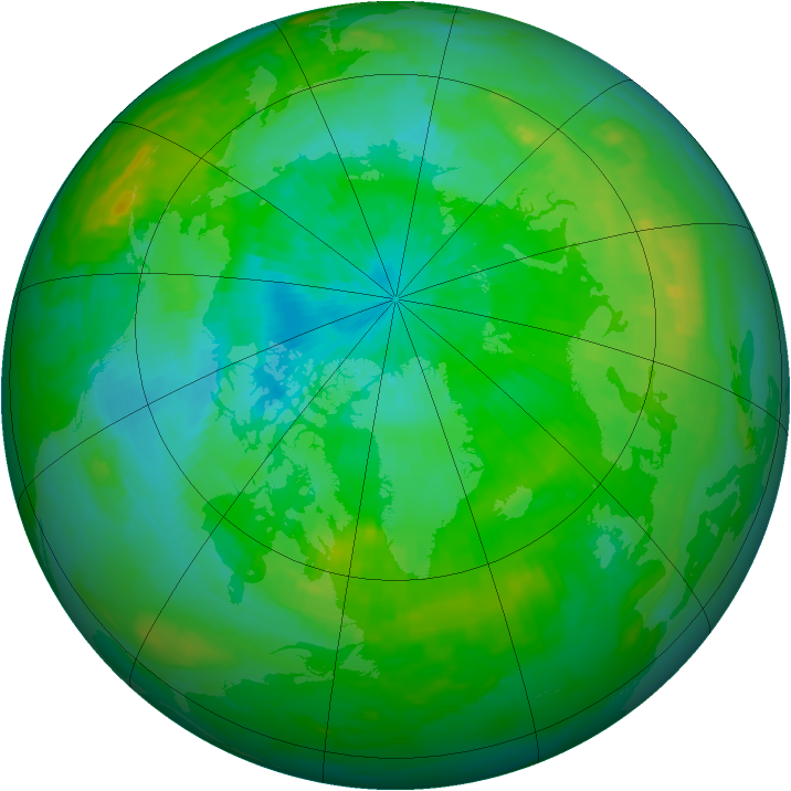 Arctic ozone map for 14 August 1991