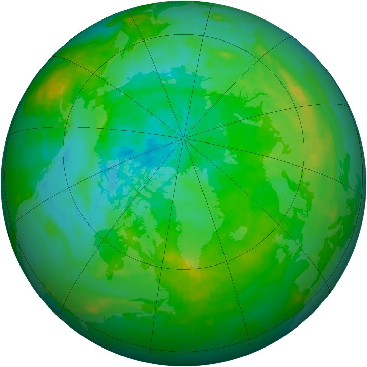 Arctic ozone map for 15 August 1991