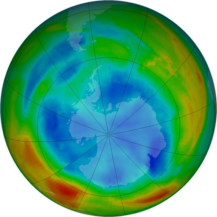 Antarctic ozone map for 16 August 1991