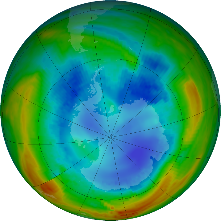 Antarctic ozone map for 19 August 1991