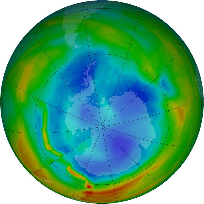 Antarctic ozone map for 20 August 1991
