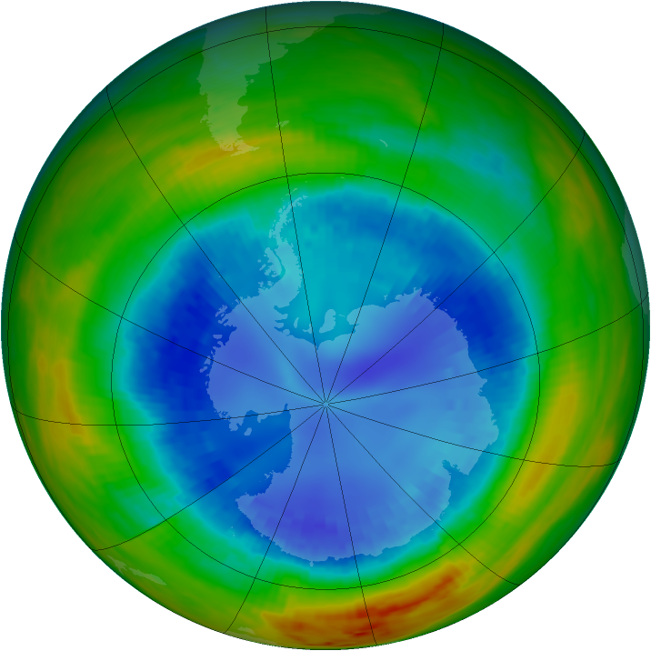 Antarctic ozone map for 27 August 1991