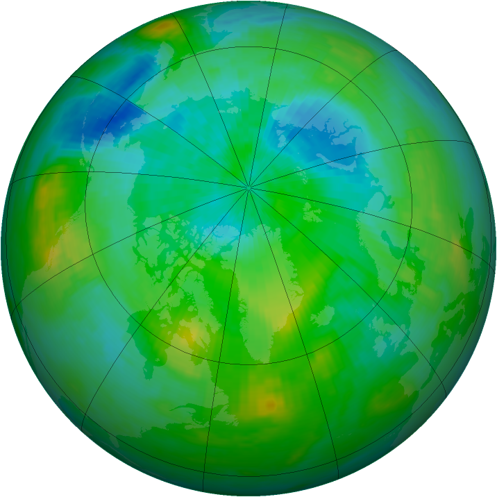 Arctic ozone map for 28 August 1991