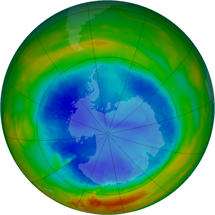 Antarctic ozone map for 28 August 1991