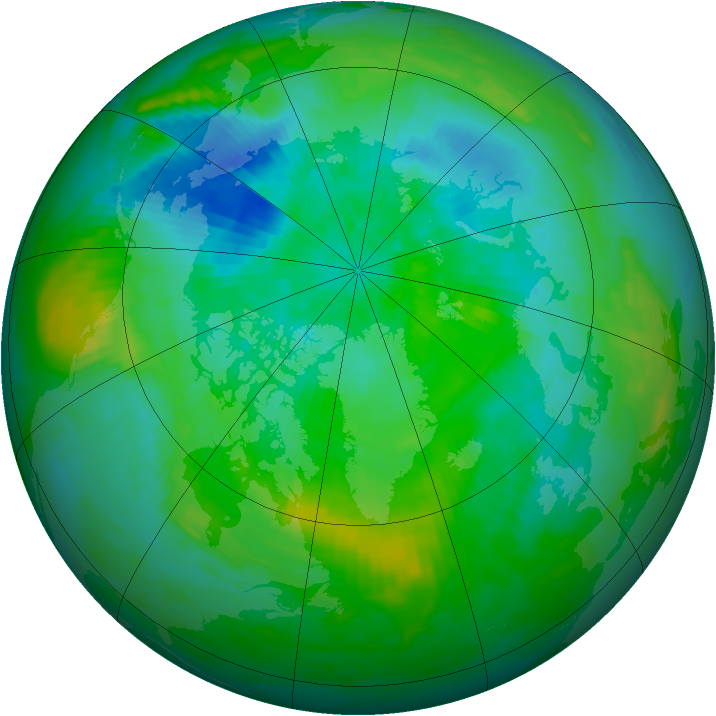 Arctic ozone map for 30 August 1991