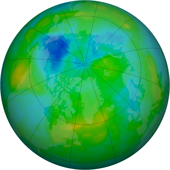 Arctic ozone map for 31 August 1991