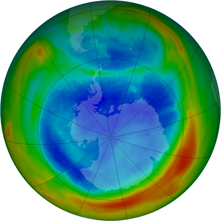 Antarctic ozone map for 02 September 1991