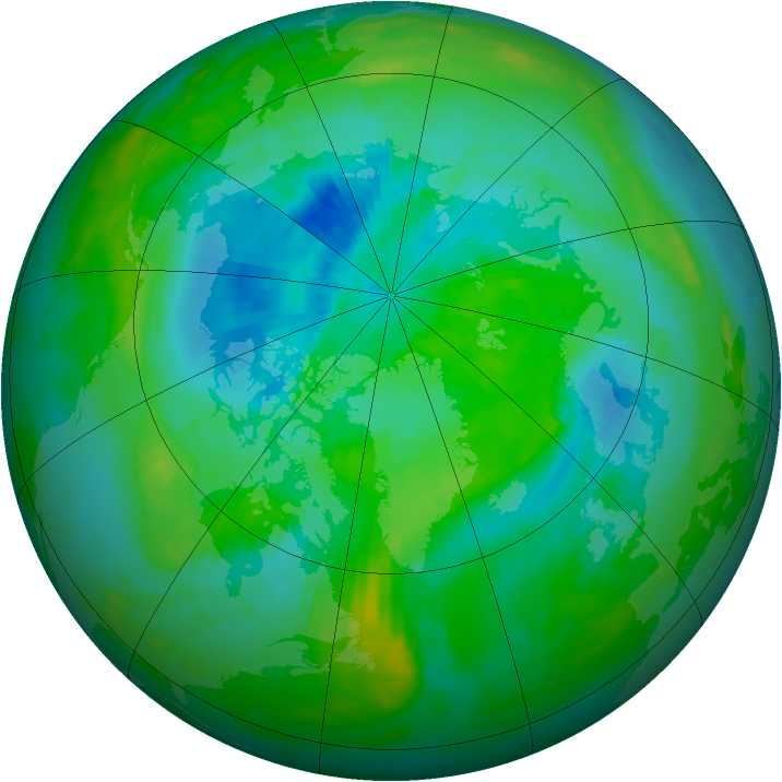 Arctic ozone map for 03 September 1991