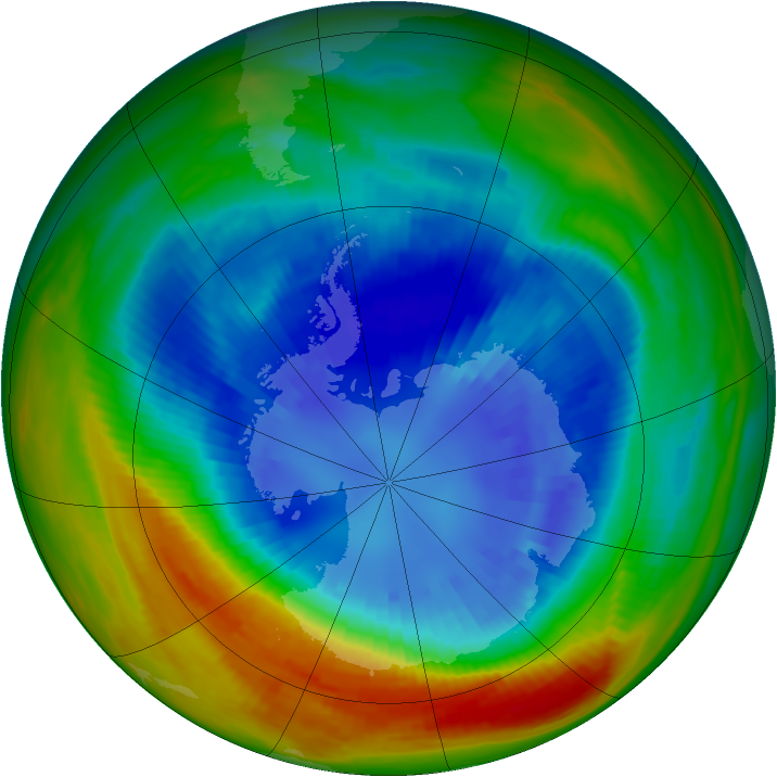Antarctic ozone map for 05 September 1991