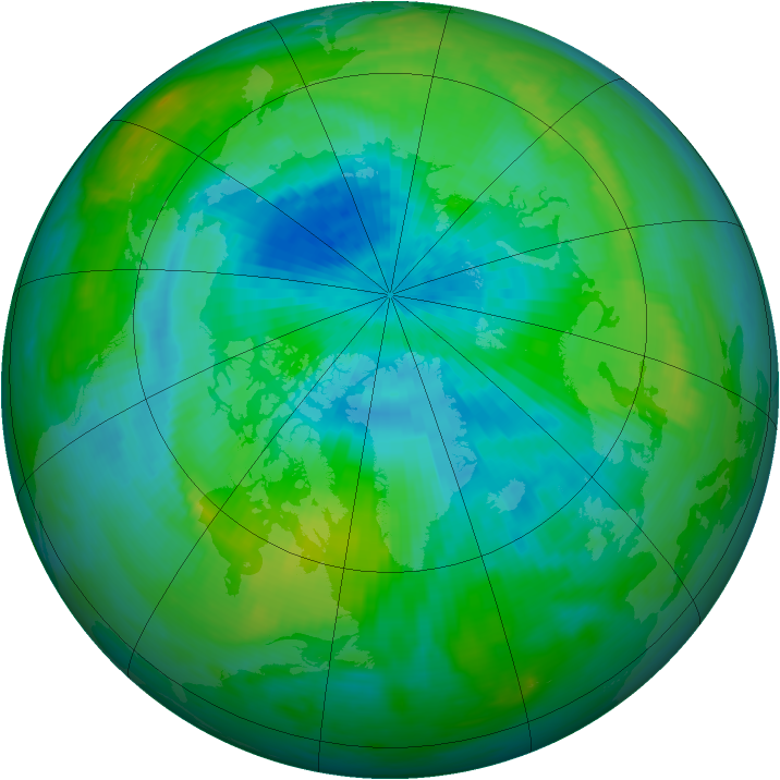 Arctic ozone map for 06 September 1991