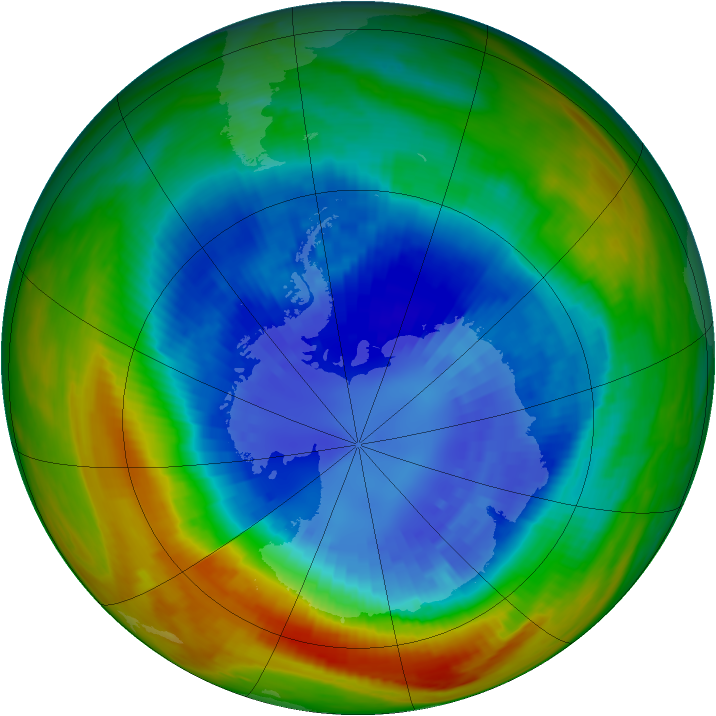 Antarctic ozone map for 06 September 1991