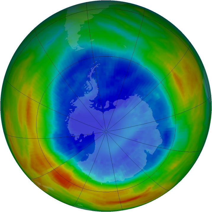 Antarctic ozone map for 07 September 1991